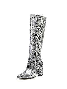 Fashion Snake Print Chunky Heeled Boots For Women