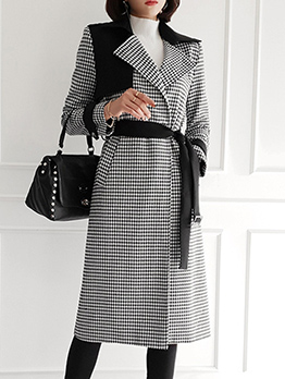 Vintage Patchwork Houndstooth Long Winter Coats
