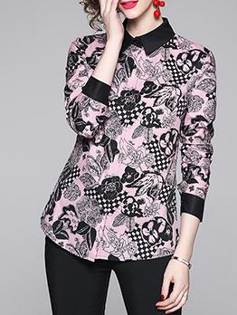 Fashion Slim Waist Flower Printed Ladies Blouse