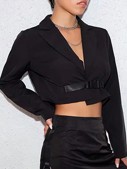 Minimalist Lapel Plastic Buckle Black Crop Coat