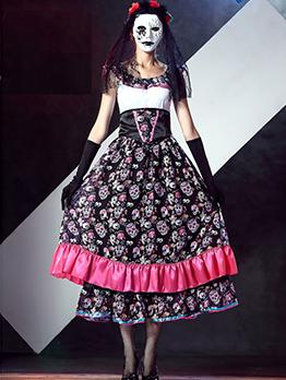 Halloween Skull Printed Midi Dress