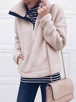 Solid Turndown Collar Lambswool Sweatshirts For Women