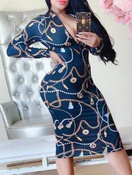 Deep V Neck Chain Printed Long Sleeve Midi Dress