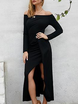 Off Shoulder Split Hem Solid Long Sleeve Dress
