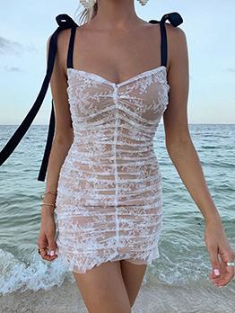 Sweet Style Gauze Lace Sleeveless Sundress