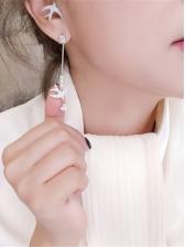 Rhinestone Swallow Faux Pearl Asymmetric Drop Earrings