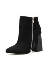 Solid Side Zipper Chunky Heel Black Boots
