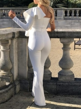 One Shoulder Exaggerated Ruffled White Ladies Jumpsuits