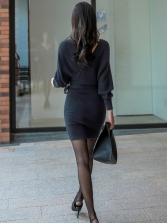 Elegant Slim Bat Sleeve Solid Bodycon Dress