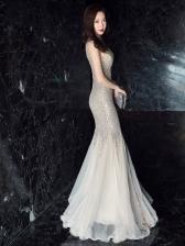 Elegant Fishtail Hem Sleeveless Evening Maxi Dresses