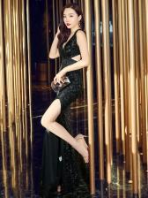 Hollow Out Split Hem Sequin Long Formal Dresses