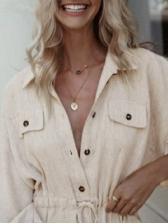 Leisure Button Down Solid Shirt Dress