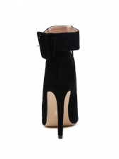 Pointed Toe Suede Hollow Out Black Ankle Boots