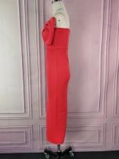 Bow Decor Split Hem Strapless Party Dresses