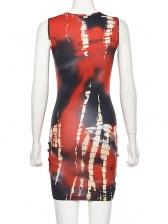 Crew Neck Drawstring Printed Sleeve Dress
