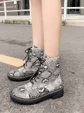 Trendy Snake Printed Lace Up Martin Boots For Women