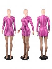V Neck Tie-Wrap Long Sleeve Striped Dress