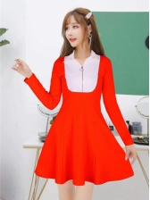 New Style Contrast Color Long Sleeve Dress