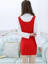 Graceful Contrast Color Zip Up Long Sleeve Dress