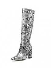 Fashion Snake Print Chunky Heeled Boots For Women