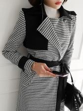 Vintage Patchwork Houndstooth Long Winter Coats