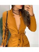 Fashion Solid Button Down v Neck Bodycon Dress