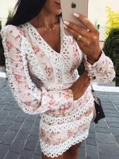 Lacework v Neck Long Sleeve Floral Dress