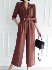 OL Style Half Sleeve Wide Leg Jumpsuit