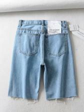 Minimalist Solid Color Mid Waist Denim Shorts