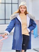Warm Cashmere Denim Blue Long Coat