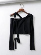 Inclined Shoulder Ribbon Decor Black Crop T Shirt