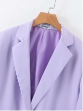 Minimalist Two Buttons Purple Blazer For Ladies