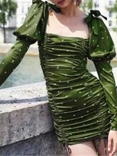 Stylish Polka Dots Ruched Puff Casual Dresses