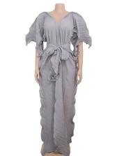 V Neck Wave Edge Tie-Wrap Long Sleeve Maxi Dress