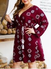 Plus Size v Neck Geometric Long Sleeve Dress