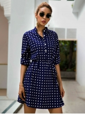 Polka Dots Empire Waist Single-Breasted Ladies Dress
