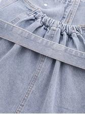 Irregular Design Strapless Denim Top With Belt