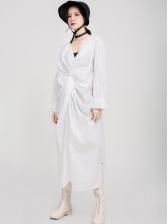 Popular v Neck Ruched Midi Dress