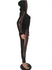 Size Zipper Patchwork Hooded 2 Piece Pants Set