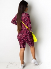 Leopard Letter Printed Fitted Two Piece Short Set