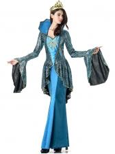 Halloween Snake Queen Cosplay Ruffled Maxi Dress