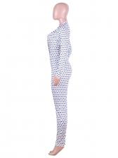 V Neck Dot Long Sleeve Jumpsuit