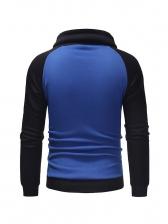 Leisure Contrast Color Long Sleeve Pullover Hoodie