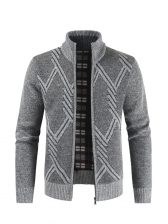 Stand Collar Zip Up Knitted Outerwear