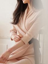 Ol Style V Neck Long Sleeve Wrap Dress