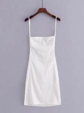 Backless Split Hem Satin Sexy Dress