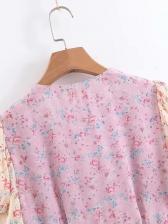 V Neck Contrast Color Floral Ladies Dress