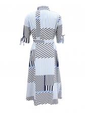 Turndown Neck Tie Wrap Long Sleeve Striped Dress