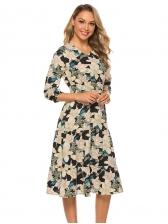 Bohemia Style V Neck Long Sleeve Floral Dress