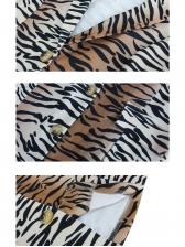 V Neck Leopard Printed Long Sleeve Dress
